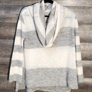 Free People White And Gray Cowl Neck Sweater